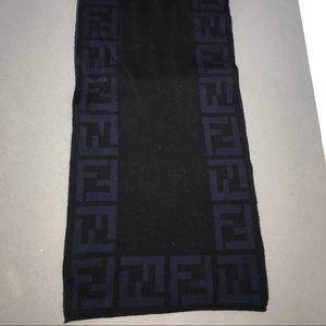 Authentic fendi reversible scarf zucca blue & blk